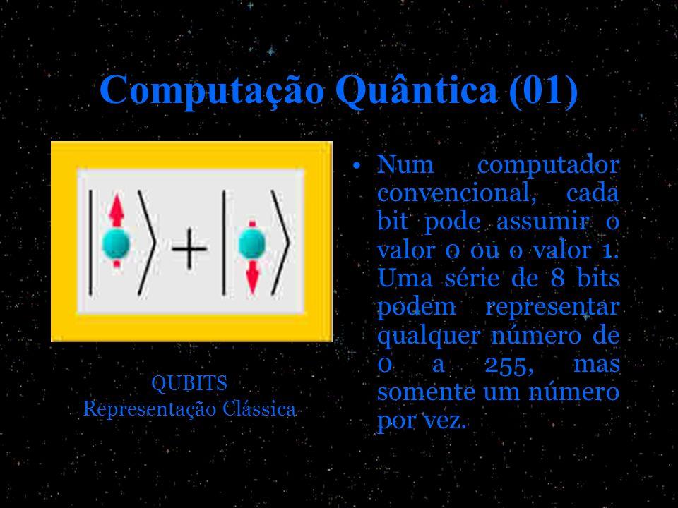 Computação Quântica (01) Num computador convencional, cada bit pode assumir o valor 0 ou o valor 1. Uma série de 8 bits podem representar qualquer núm