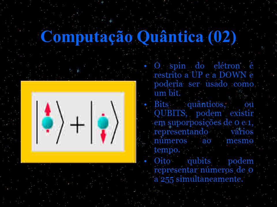 Computação Quântica (02) O spin do elétron é restrito a UP e a DOWN e poderia ser usado como um bit. Bits quânticos, ou QUBITS, podem existir em supor