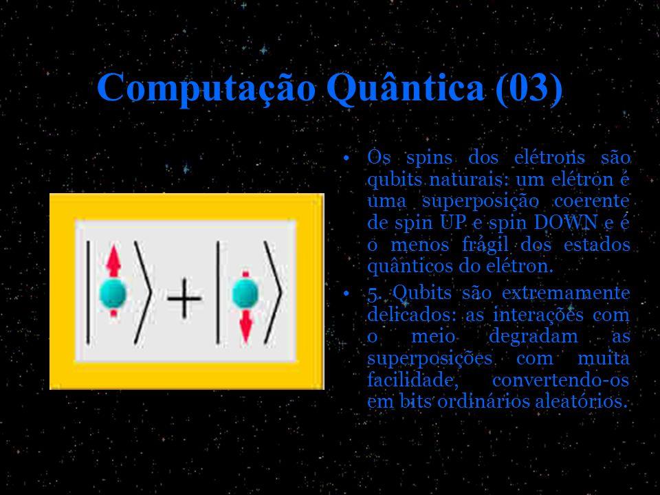 Computação Quântica (03) Os spins dos elétrons são qubits naturais: um elétron é uma superposição coerente de spin UP e spin DOWN e é o menos frágil d