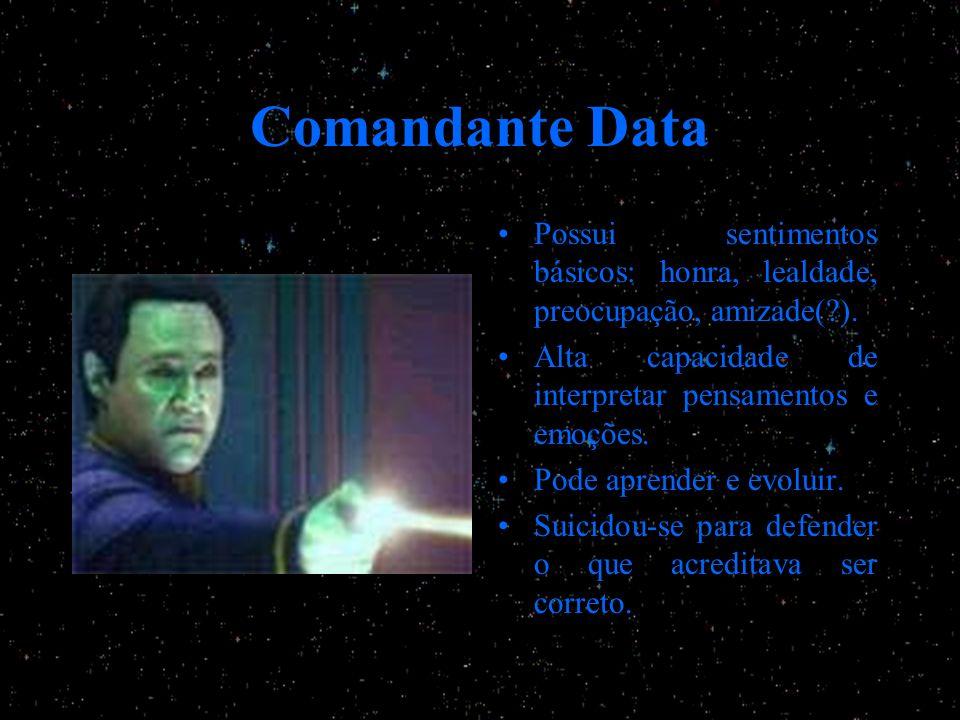 Comandante Data Possui sentimentos básicos: honra, lealdade, preocupação, amizade(?). Alta capacidade de interpretar pensamentos e emoções. Pode apren