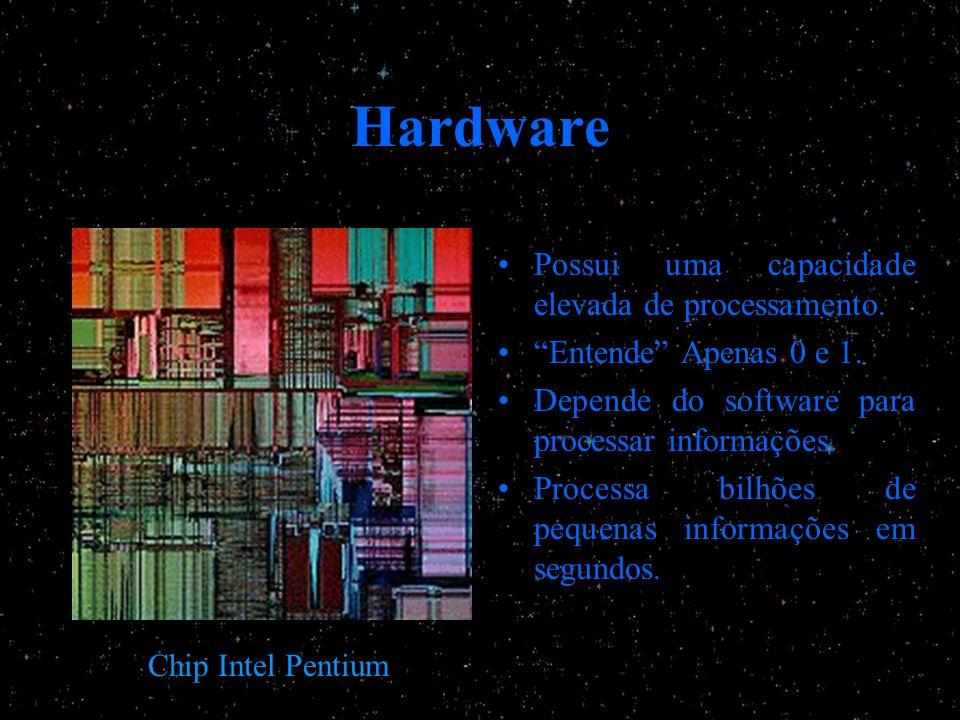 Hardware Possui uma capacidade elevada de processamento. Entende Apenas 0 e 1. Depende do software para processar informações. Processa bilhões de peq