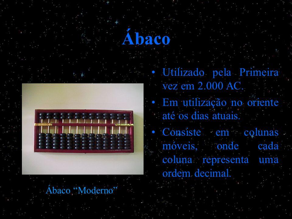 Ábaco Utilizado pela Primeira vez em 2.000 AC. Em utilização no oriente até os dias atuais. Consiste em colunas móveis, onde cada coluna representa um
