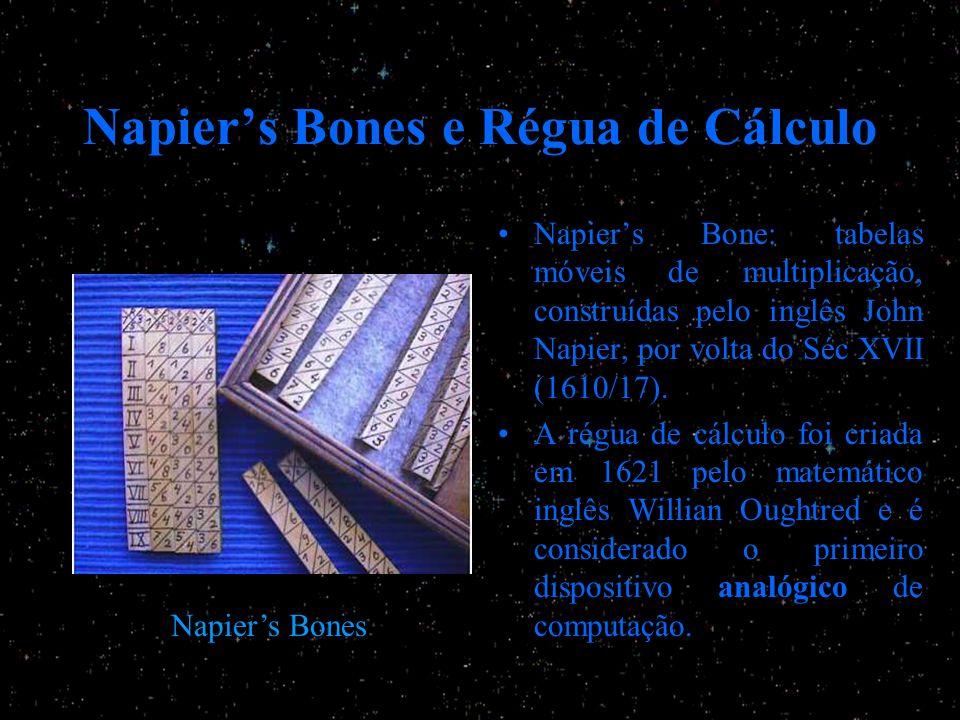 Napiers Bones e Régua de Cálculo Napiers Bone: tabelas móveis de multiplicação, construídas pelo inglês John Napier, por volta do Séc XVII (1610/17).