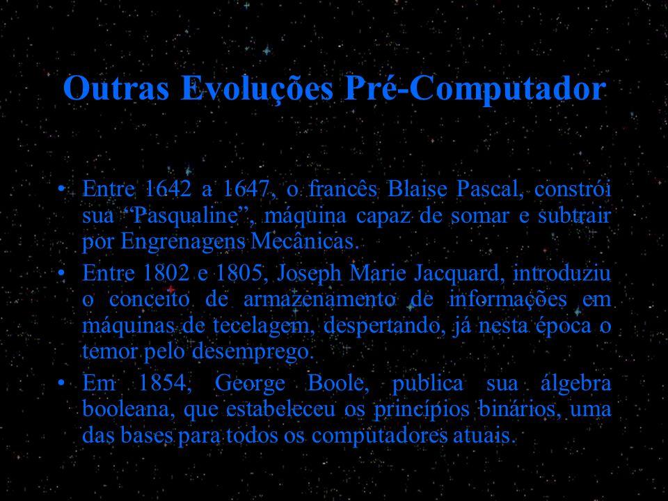Outras Evoluções Pré-Computador Entre 1642 a 1647, o francês Blaise Pascal, constrói sua Pasqualine, máquina capaz de somar e subtrair por Engrenagens