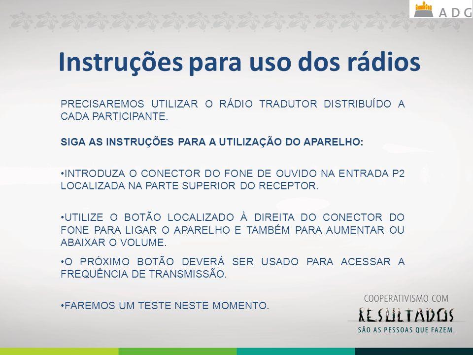 Instruções para uso dos rádios PRECISAREMOS UTILIZAR O RÁDIO TRADUTOR DISTRIBUÍDO A CADA PARTICIPANTE. SIGA AS INSTRUÇÕES PARA A UTILIZAÇÃO DO APARELH