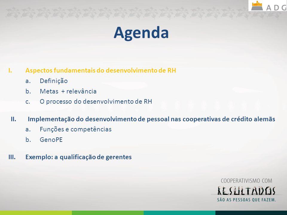 Agenda I.Aspectos fundamentais do desenvolvimento de RH a.Definição b.Metas + relevância c.O processo do desenvolvimento de RH II.Implementação do desenvolvimento de pessoal nas cooperativas de crédito alemãs a.Funções e competências b.GenoPE III.Exemplo: a qualificação de gerentes 11