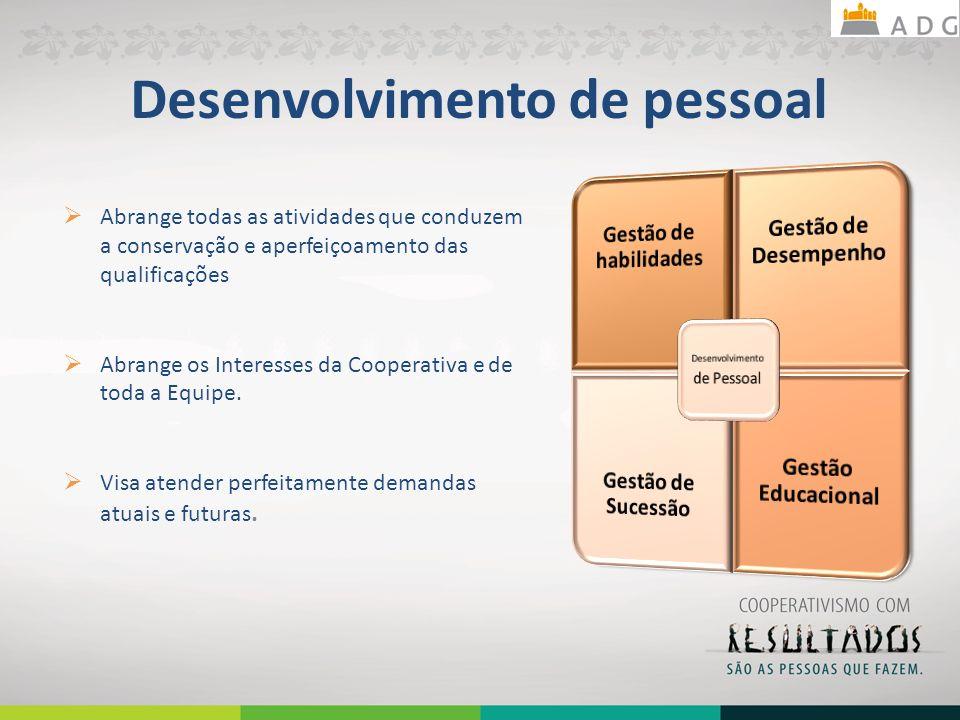 Desenvolvimento de pessoal Abrange todas as atividades que conduzem a conservação e aperfeiçoamento das qualificações Abrange os Interesses da Coopera