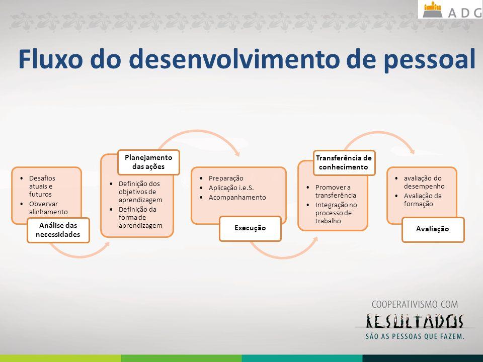 Fluxo do desenvolvimento de pessoal Desafios atuais e futuros Obvervar alinhamento estratégico Análise das necessidades Definição dos objetivos de apr