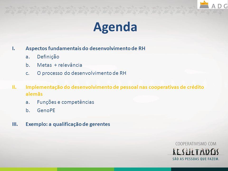 Agenda I.Aspectos fundamentais do desenvolvimento de RH a.Definição b.Metas + relevância c.O processo do desenvolvimento de RH II.Implementação do des