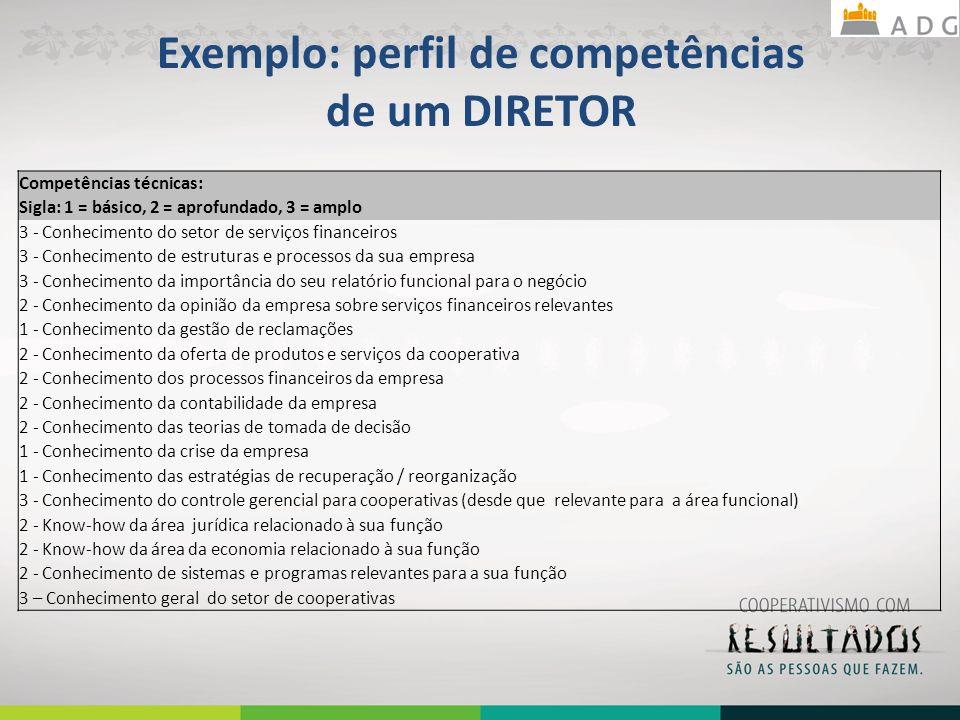 Exemplo: perfil de competências de um DIRETOR Competências técnicas: Sigla: 1 = básico, 2 = aprofundado, 3 = amplo 3 - Conhecimento do setor de serviços financeiros 3 - Conhecimento de estruturas e processos da sua empresa 3 - Conhecimento da importância do seu relatório funcional para o negócio 2 - Conhecimento da opinião da empresa sobre serviços financeiros relevantes 1 - Conhecimento da gestão de reclamações 2 - Conhecimento da oferta de produtos e serviços da cooperativa 2 - Conhecimento dos processos financeiros da empresa 2 - Conhecimento da contabilidade da empresa 2 - Conhecimento das teorias de tomada de decisão 1 - Conhecimento da crise da empresa 1 - Conhecimento das estratégias de recuperação / reorganização 3 - Conhecimento do controle gerencial para cooperativas (desde que relevante para a área funcional) 2 - Know-how da área jurídica relacionado à sua função 2 - Know-how da área da economia relacionado à sua função 2 - Conhecimento de sistemas e programas relevantes para a sua função 3 – Conhecimento geral do setor de cooperativas