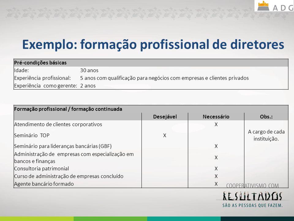 Exemplo: formação profissional de diretores Pré-condições básicas Idade:30 anos Experiência profissional:5 anos com qualificação para negócios com emp
