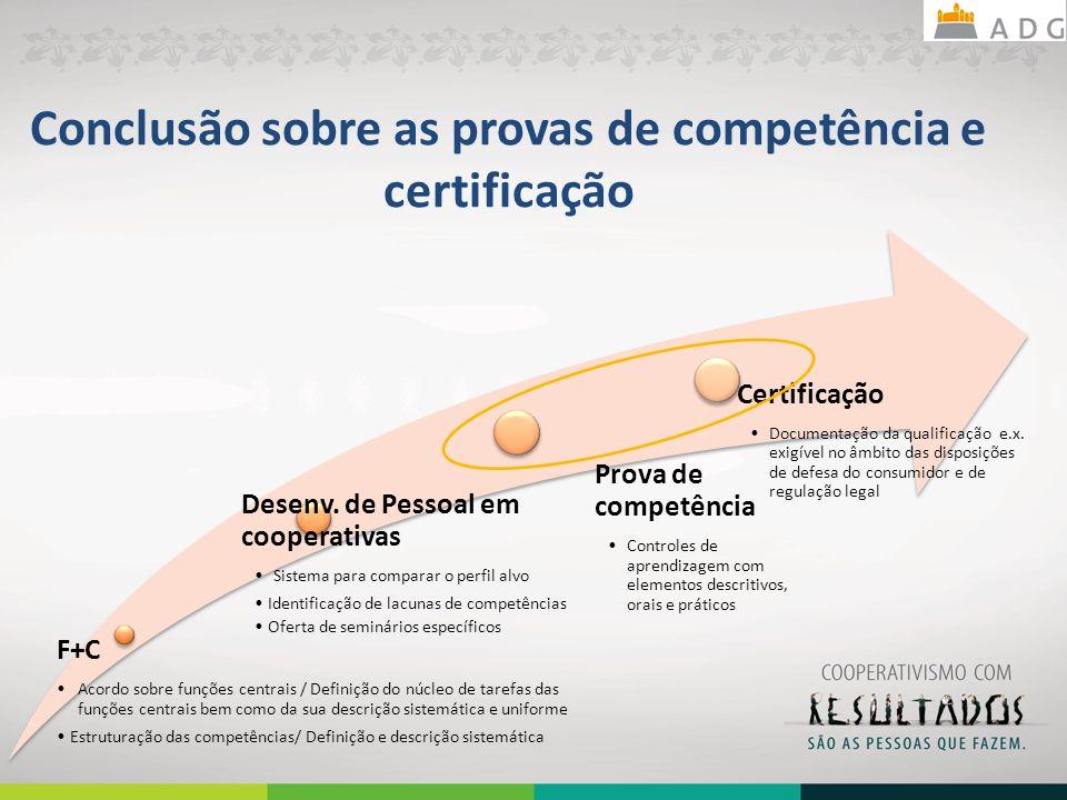 Conclusão sobre as provas de competência e certificação F+C Acordo sobre funções centrais / Definição do núcleo de tarefas das funções centrais bem como da sua descrição sistemática e uniforme Estruturação das competências/ Definição e descrição sistemática Desenv.