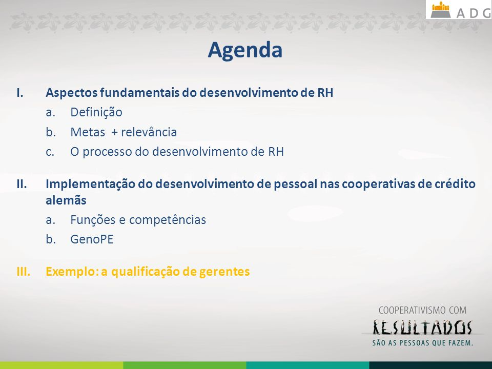 Agenda I.Aspectos fundamentais do desenvolvimento de RH a.Definição b.Metas + relevância c.O processo do desenvolvimento de RH II.Implementação do desenvolvimento de pessoal nas cooperativas de crédito alemãs a.Funções e competências b.GenoPE III.Exemplo: a qualificação de gerentes