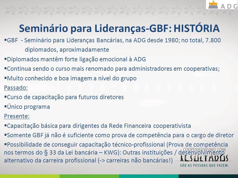 Seminário para Lideranças-GBF: HISTÓRIA GBF - Seminário para Lideranças Bancárias, na ADG desde 1980; no total, 7.800 diplomados, aproximadamente Dipl