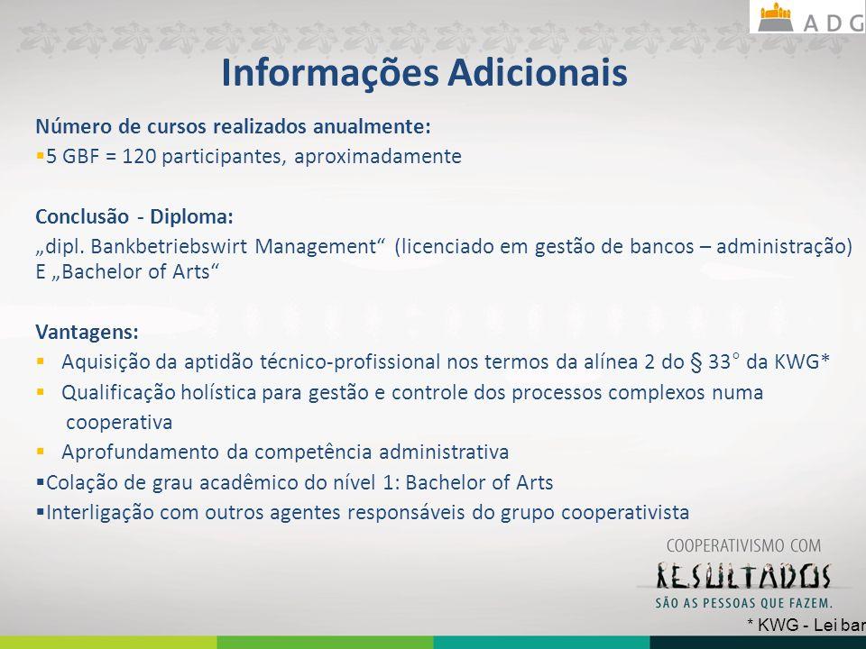 Informações Adicionais Número de cursos realizados anualmente: 5 GBF = 120 participantes, aproximadamente Conclusão - Diploma: dipl.