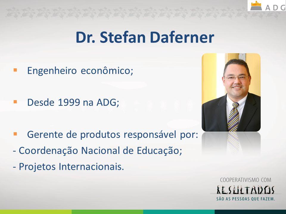 Dr. Stefan Daferner Engenheiro econômico; Desde 1999 na ADG; Gerente de produtos responsável por: - Coordenação Nacional de Educação; - Projetos Inter
