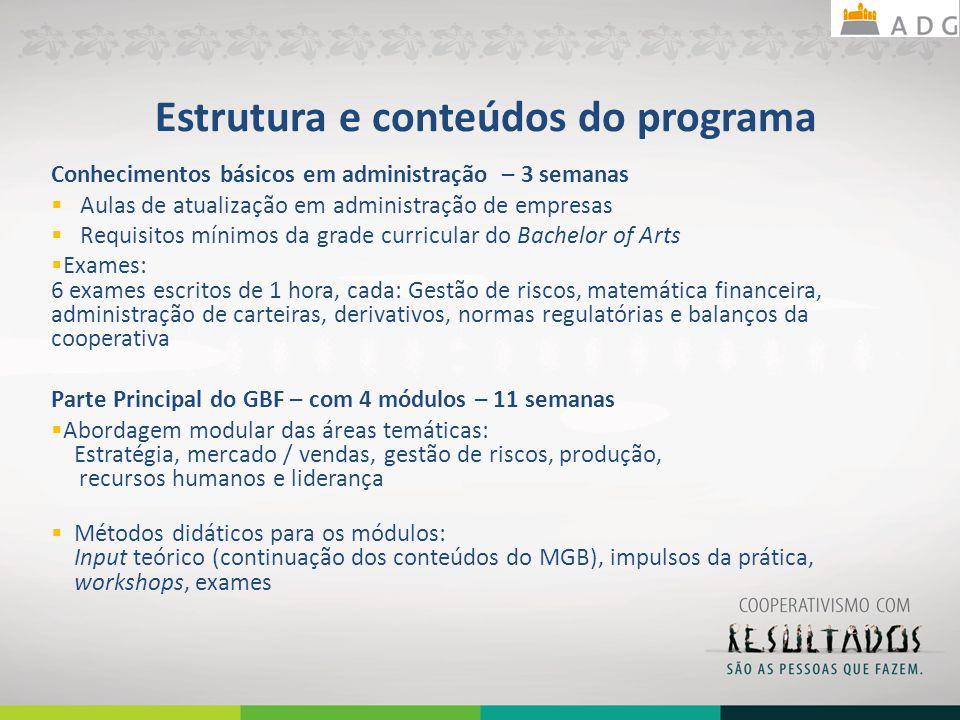 Estrutura e conteúdos do programa Conhecimentos básicos em administração – 3 semanas Aulas de atualização em administração de empresas Requisitos míni