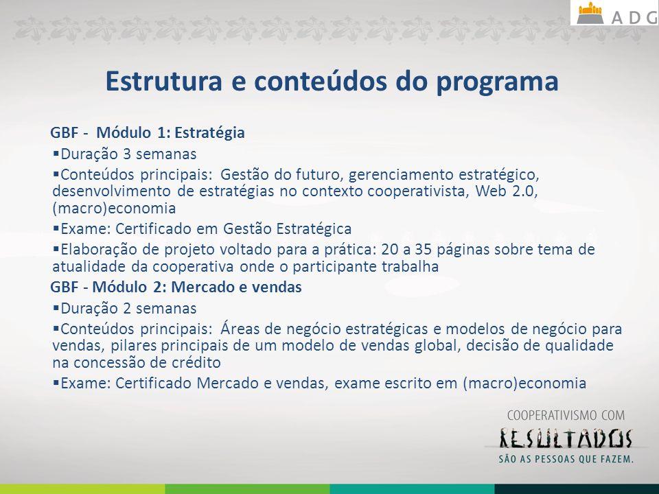 Estrutura e conteúdos do programa GBF - Módulo 1: Estratégia Duração 3 semanas Conteúdos principais: Gestão do futuro, gerenciamento estratégico, dese