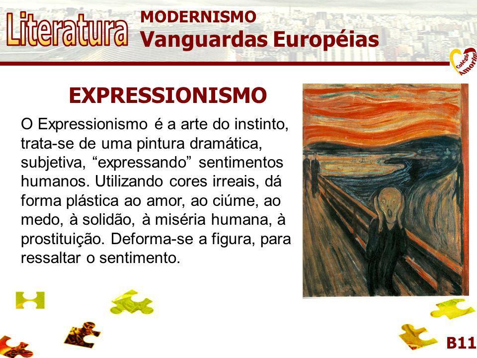MODERNISMO Vanguardas Européias B11 DADAÍSMO O Dadaísmo, fundado na Suíça em 1916, foi o mais radical dos movimentos de vanguarda. Por isso, pode-se d