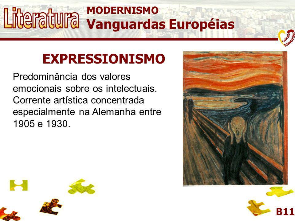 MODERNISMO Vanguardas Européias B11 EXPRESSIONISMO O Expressionismo é a arte do instinto, trata-se de uma pintura dramática, subjetiva, expressando se