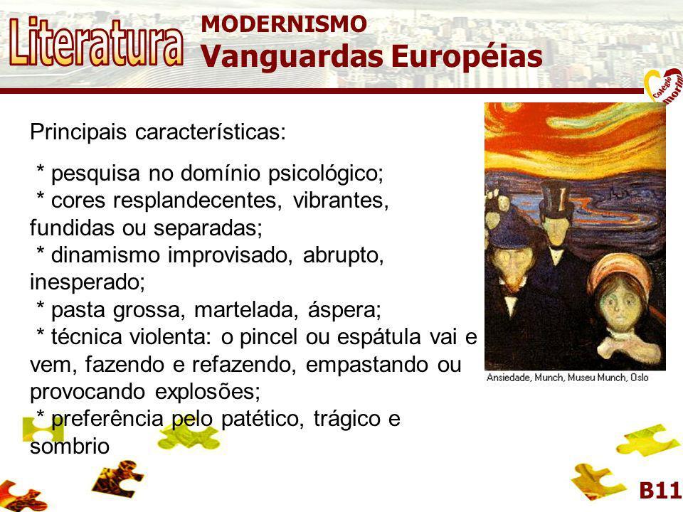 MODERNISMO Vanguardas Européias B11 EXPRESSIONISMO Predominância dos valores emocionais sobre os intelectuais. Corrente artística concentrada especial