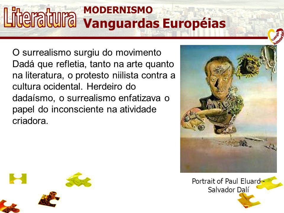 MODERNISMO Vanguardas Européias B11 Surrealismo, movimento artístico e literário fundado pelo poeta e crítico francês André Breton. Em 1924, Breton pu