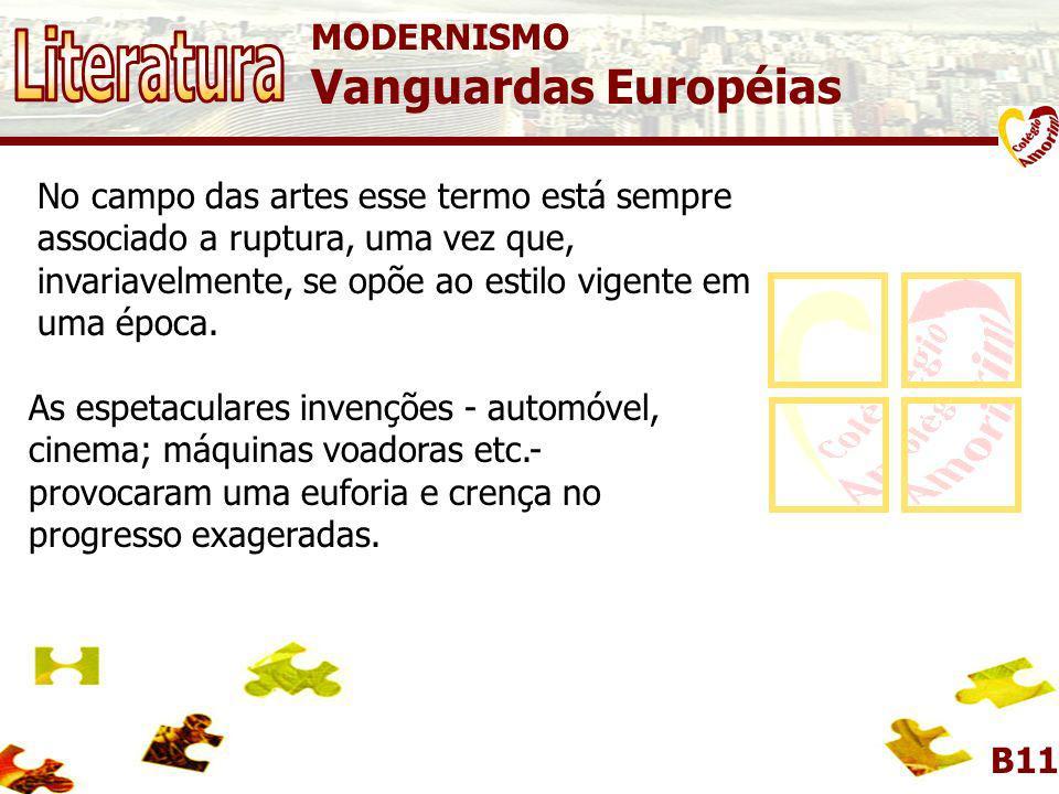 MODERNISMO Vanguardas Européias B11 O termo vanguarda vem do francês avant-garde, termo militar que é usado para caracterizar o grupo de soldados que,