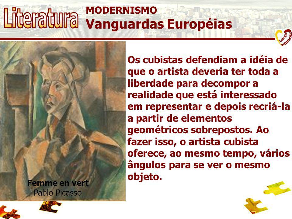 MODERNISMO Vanguardas Européias B11 CUBISMO O Cubismo surgiu em 1907, a partir das experiências do espanhol Pablo Picasso e do francês Georges Braque,