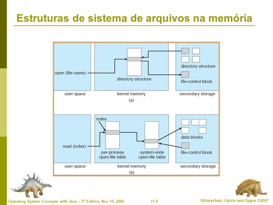 11.29 Silberschatz, Galvin and Gagne ©2007 Operating System Concepts with Java – 7 th Edition, Nov 15, 2006 Gerenciamento de espaço livre (cont.) Mapa de bits requer espaço extra Exemplo: tamanho do bloco = 2 12 bytes tamanho do disco = 2 30 bytes (1 gigabyte) n = 2 30 /2 12 = 2 18 bits (ou 32K bytes) Fácil de obter arquivos contíguos Lista vinculada (lista livre) Não pode obter espaço contíguo facilmente Sem desperdício de espaço Agrupamento Contagem