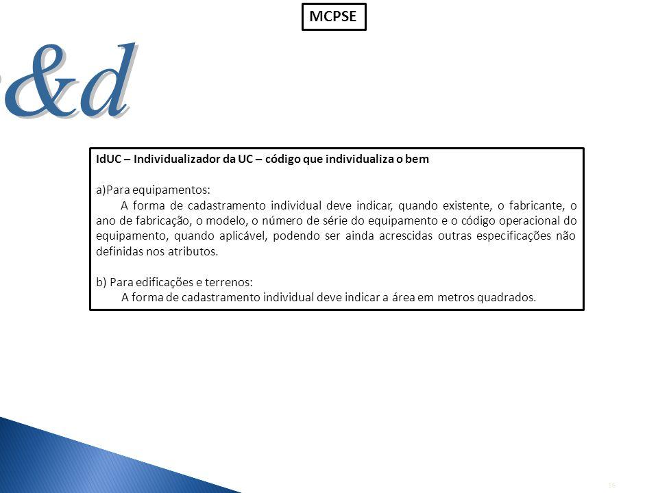 16 IdUC – Individualizador da UC – código que individualiza o bem a)Para equipamentos: A forma de cadastramento individual deve indicar, quando existe