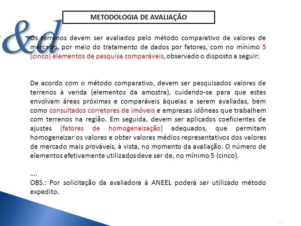 23 Os terrenos devem ser avaliados pelo método comparativo de valores de mercado, por meio do tratamento de dados por fatores, com no mínimo 5 (cinco)