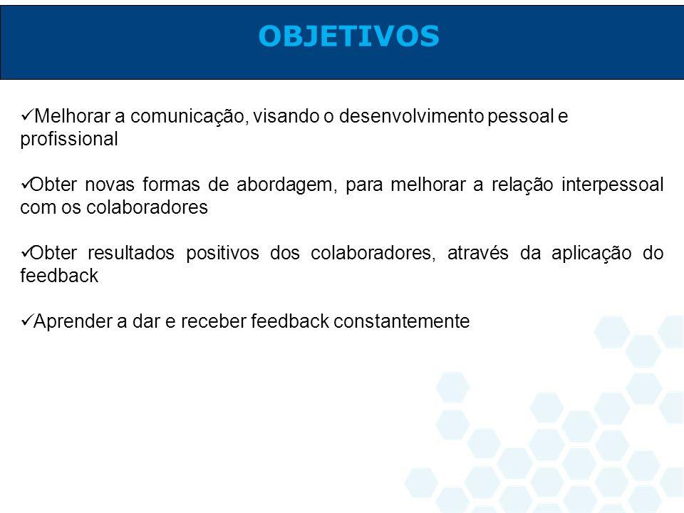 Melhorar a comunicação, visando o desenvolvimento pessoal e profissional Obter novas formas de abordagem, para melhorar a relação interpessoal com os