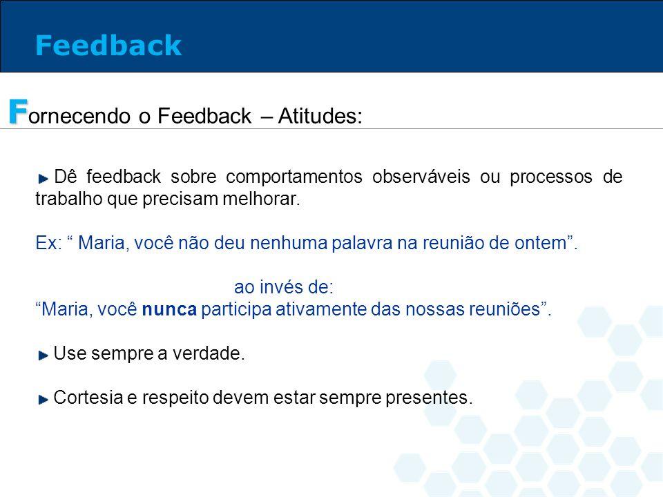 Dê feedback sobre comportamentos observáveis ou processos de trabalho que precisam melhorar. Ex: Maria, você não deu nenhuma palavra na reunião de ont