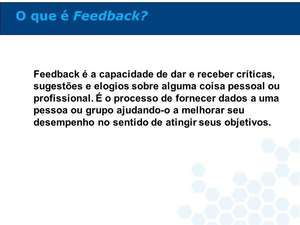 Feedback é a capacidade de dar e receber críticas, sugestões e elogios sobre alguma coisa pessoal ou profissional. É o processo de fornecer dados a um