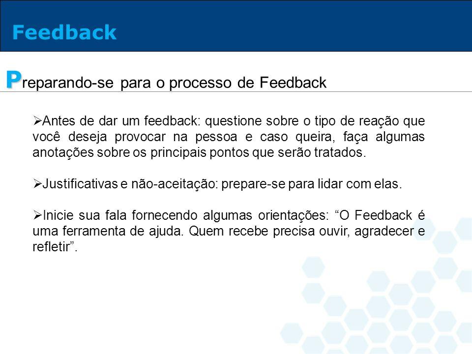 Ao receber Feedback as pessoas geralmente demonstram reações em cadeia: Rejeição: surpresa (preferem não ouvir o que lhes é dito).