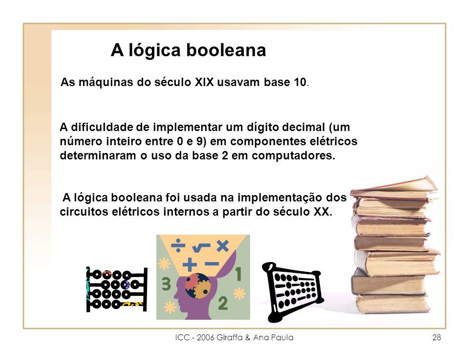 ICC - 2006 Giraffa & Ana Paula28 A lógica booleana As máquinas do século XIX usavam base 10.