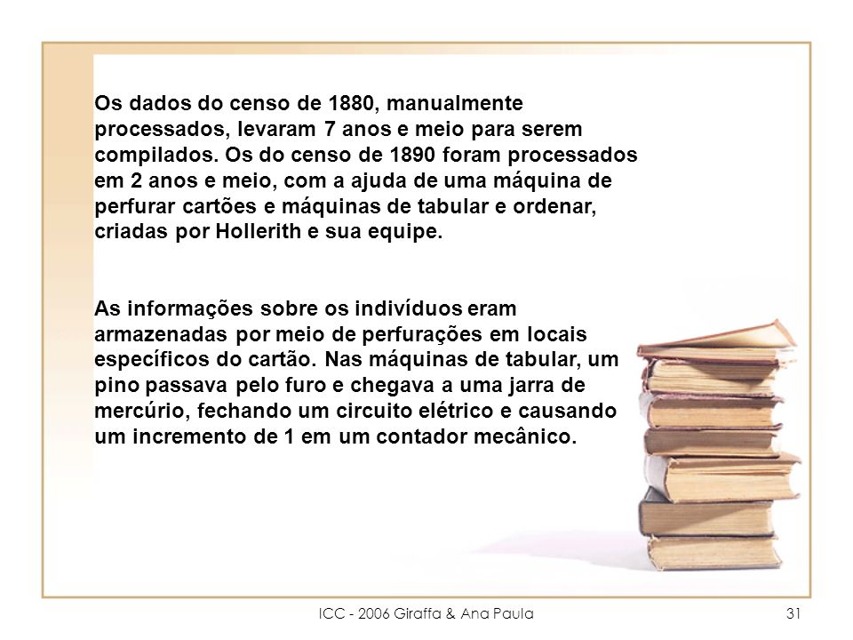 ICC - 2006 Giraffa & Ana Paula31 Os dados do censo de 1880, manualmente processados, levaram 7 anos e meio para serem compilados.