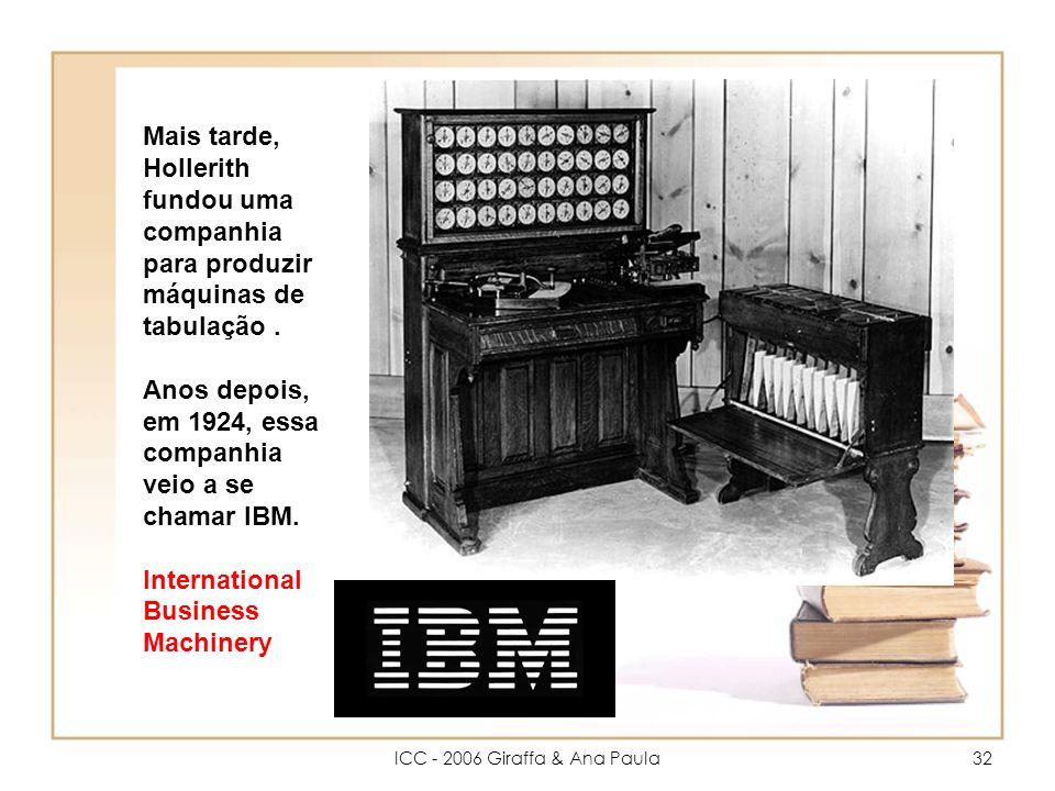 ICC - 2006 Giraffa & Ana Paula32 Mais tarde, Hollerith fundou uma companhia para produzir máquinas de tabulação.