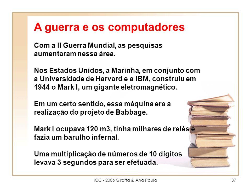 ICC - 2006 Giraffa & Ana Paula37 Com a II Guerra Mundial, as pesquisas aumentaram nessa área.