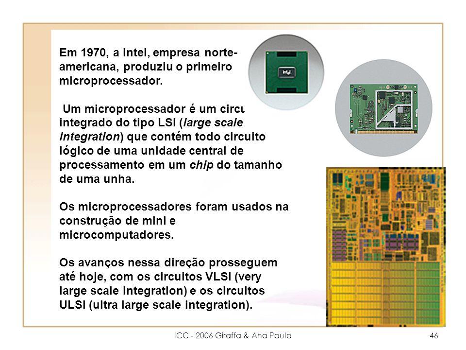 ICC - 2006 Giraffa & Ana Paula46 Em 1970, a Intel, empresa norte- americana, produziu o primeiro microprocessador.