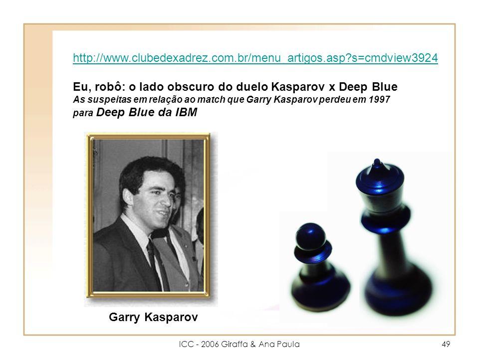 ICC - 2006 Giraffa & Ana Paula49 Garry Kasparov http://www.clubedexadrez.com.br/menu_artigos.asp?s=cmdview3924 Eu, robô: o lado obscuro do duelo Kasparov x Deep Blue As suspeitas em relação ao match que Garry Kasparov perdeu em 1997 para Deep Blue da IBM