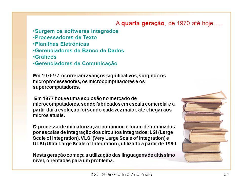 ICC - 2006 Giraffa & Ana Paula54 A quarta geração, de 1970 até hoje…..