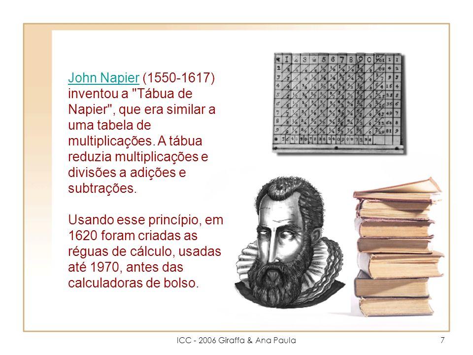 ICC - 2006 Giraffa & Ana Paula7 John NapierJohn Napier (1550-1617) inventou a Tábua de Napier , que era similar a uma tabela de multiplicações.