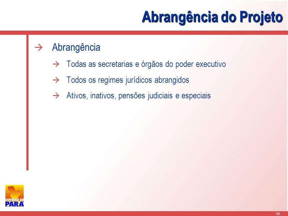 16 Abrangência do Projeto Abrangência Todas as secretarias e órgãos do poder executivo Todos os regimes jurídicos abrangidos Ativos, inativos, pensões judiciais e especiais