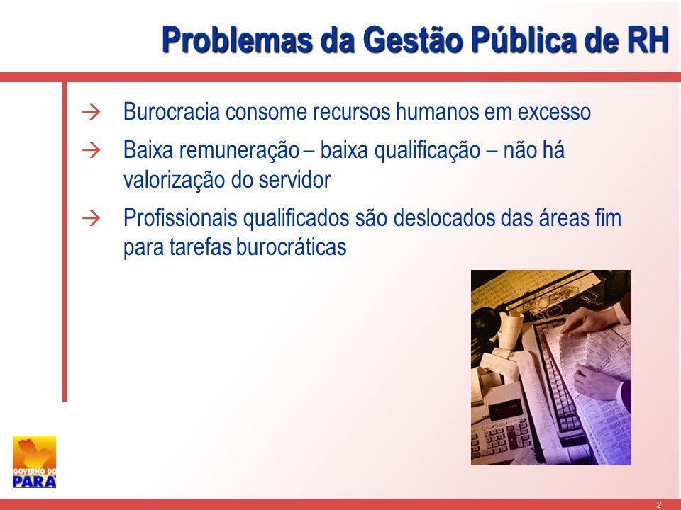2 Problemas da Gestão Pública de RH Burocracia consome recursos humanos em excesso Baixa remuneração – baixa qualificação – não há valorização do servidor Profissionais qualificados são deslocados das áreas fim para tarefas burocráticas