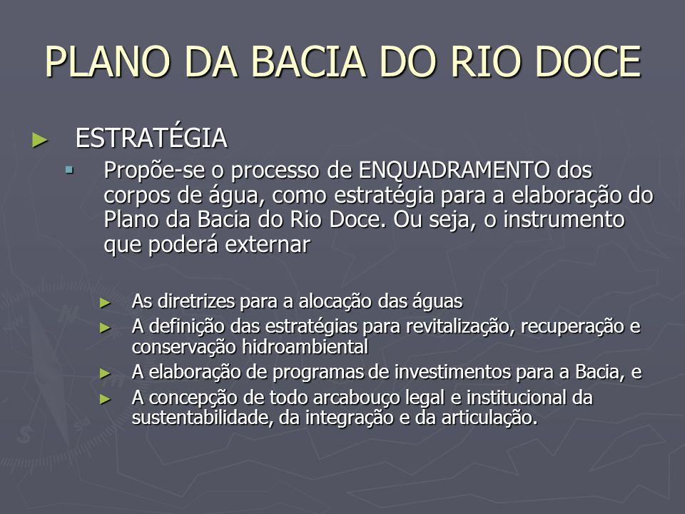 PLANO DA BACIA DO RIO DOCE ESTRATÉGIA ESTRATÉGIA Propõe-se o processo de ENQUADRAMENTO dos corpos de água, como estratégia para a elaboração do Plano