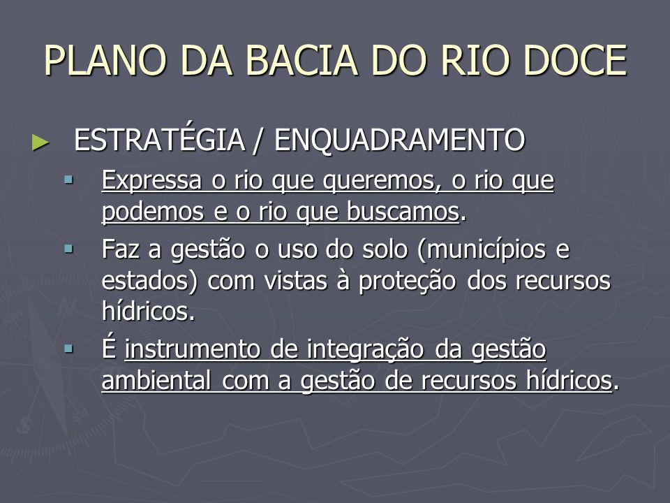 PLANO DA BACIA DO RIO DOCE ESTRATÉGIA / ENQUADRAMENTO ESTRATÉGIA / ENQUADRAMENTO Expressa o rio que queremos, o rio que podemos e o rio que buscamos.