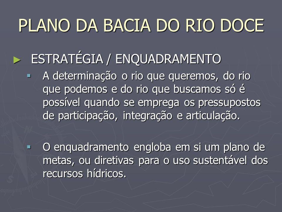 PLANO DA BACIA DO RIO DOCE ESTRATÉGIA / ENQUADRAMENTO ESTRATÉGIA / ENQUADRAMENTO A determinação o rio que queremos, do rio que podemos e do rio que bu