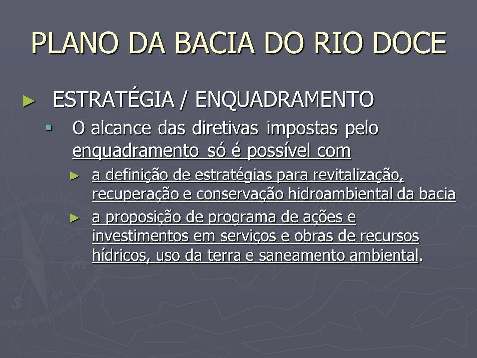 PLANO DA BACIA DO RIO DOCE ESTRATÉGIA / ENQUADRAMENTO ESTRATÉGIA / ENQUADRAMENTO O alcance das diretivas impostas pelo enquadramento só é possível com