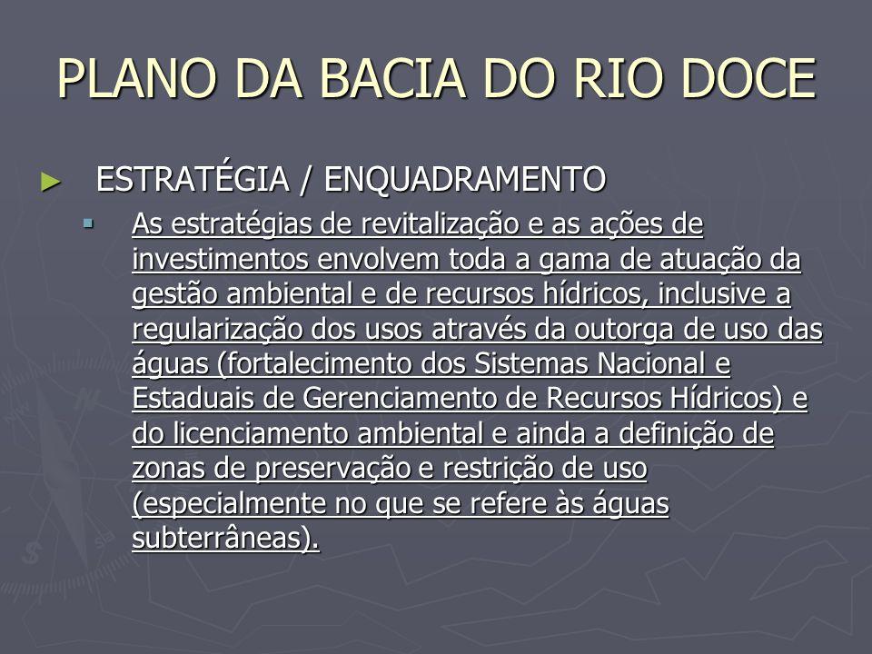 PLANO DA BACIA DO RIO DOCE ESTRATÉGIA / ENQUADRAMENTO ESTRATÉGIA / ENQUADRAMENTO As estratégias de revitalização e as ações de investimentos envolvem